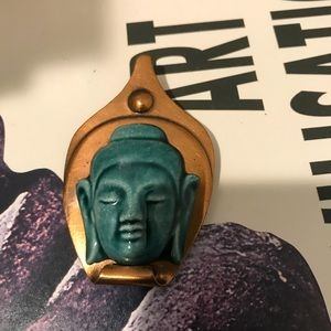 Vintage copper Buddha head large brooch.